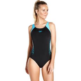 speedo Boom Splice Traje de baño Muscleback Mujer, black/turquoise